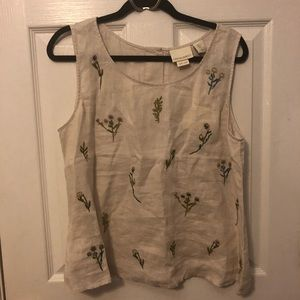 Cynthia Rowley Linen Embroidered Top
